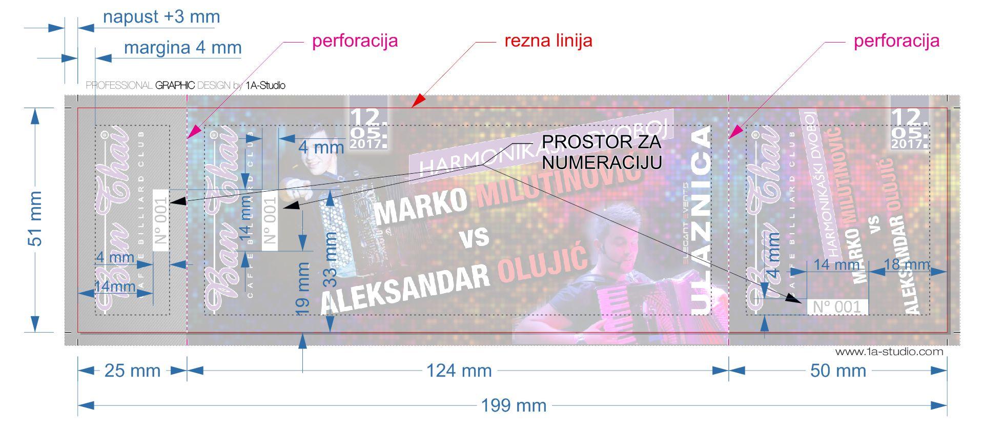 Objašnjenje: Predložak za grafički dizajn ulaznica.