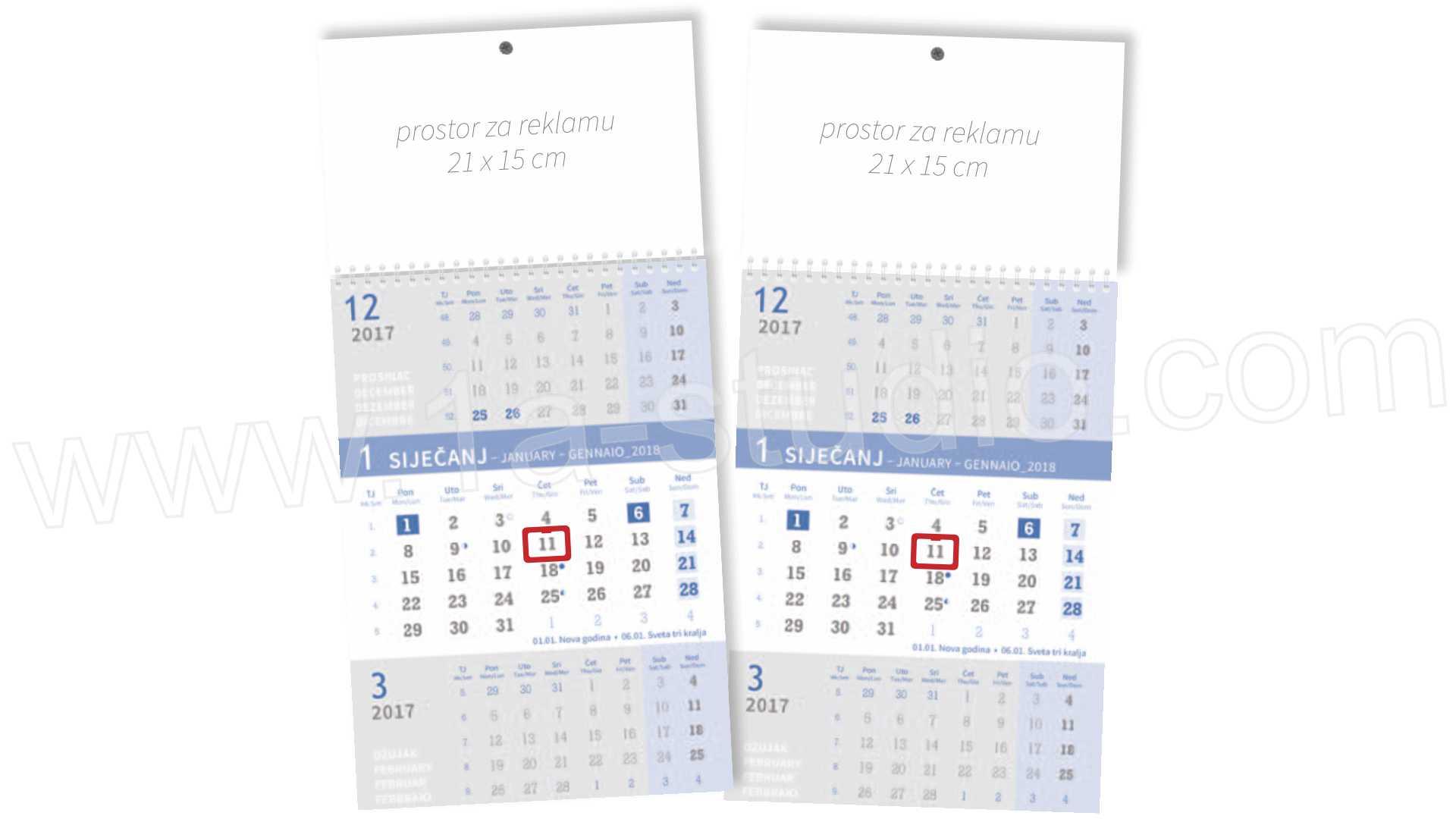 trodjelni Kalendar